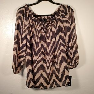 AGB sheer brown black wide zebra 3/4 sleeve NWT